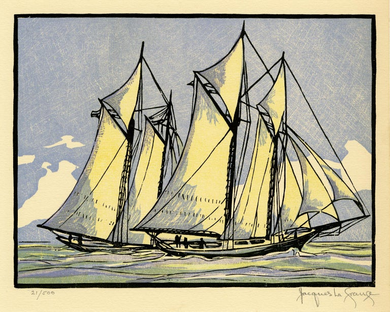 Jacques La Grange Figurative Print - 'Sappho Passes Livonia' from 'Drama and Color in the America's Cup Races'