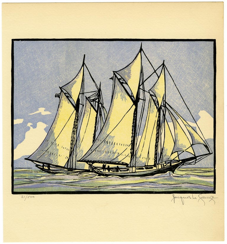 'Sappho Passes Livonia' from 'Drama and Color in the America's Cup Races' - Print by Jacques La Grange
