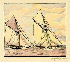 'Columbia Passes Shamrock II' from 'Drama and Color in the America's Cup Races'