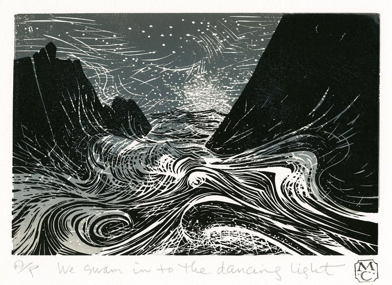 Merlyn Chesterman, 'We Swam into the Dancing Light', color woodcut, edition 50, c. 2010. Titled and annotated 'A/P' (Artist's Proof) in pencil.  Signed with the artist's chop, beneath the image, lower right margin. A superb, richly-inked impression,