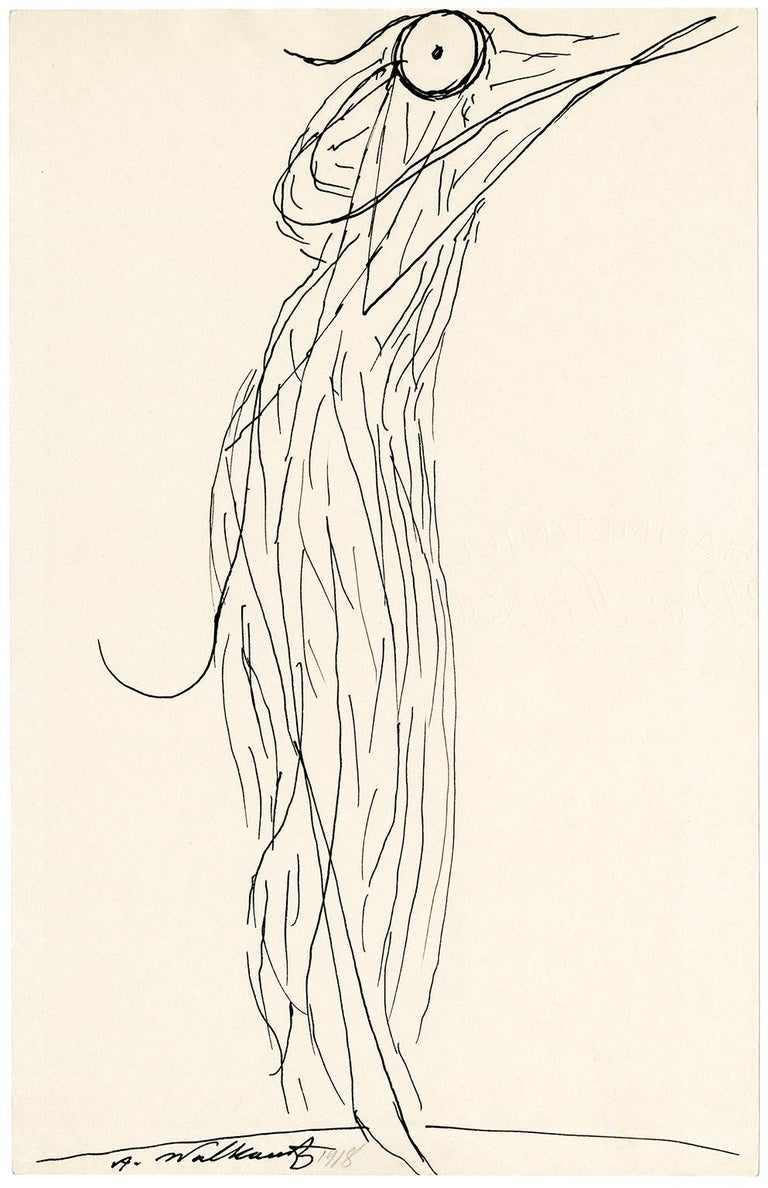 Abraham Walkowitz Abstract Drawing - Untitled (Figurative Abstraction of Isadora Duncan #2)