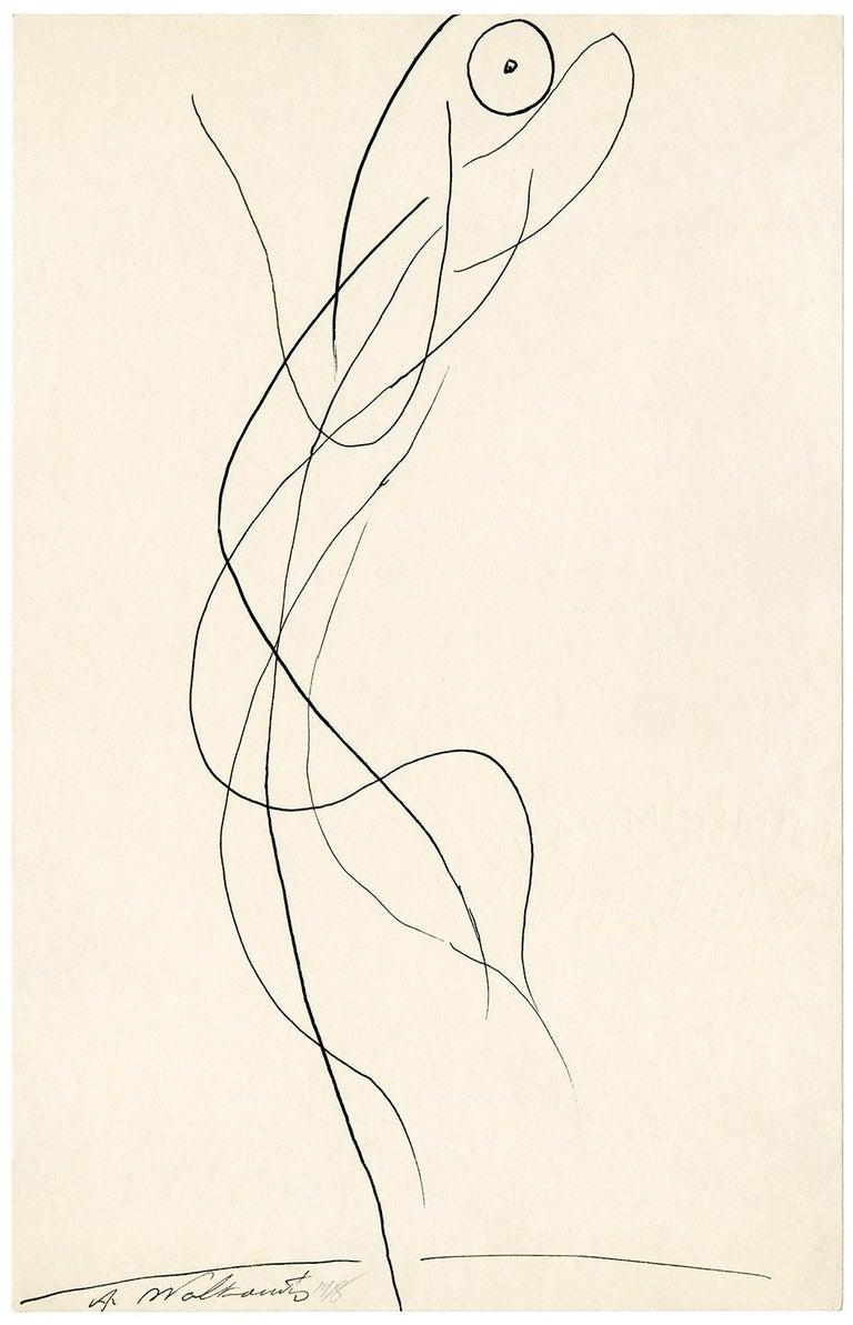 Abraham Walkowitz Figurative Art - Untitled (Figurative Abstraction of Isadora Duncan #3)