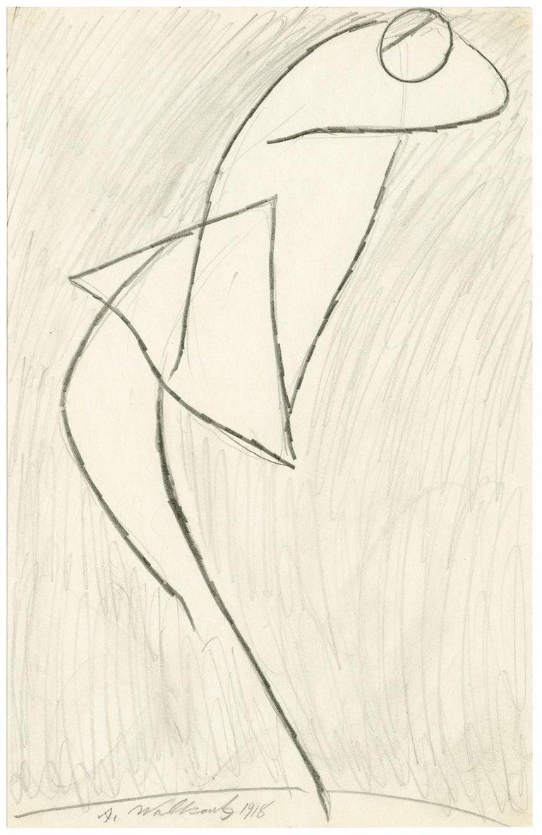 Abraham Walkowitz Figurative Art - Untitled (Figurative Abstraction of Isadora Duncan #7)