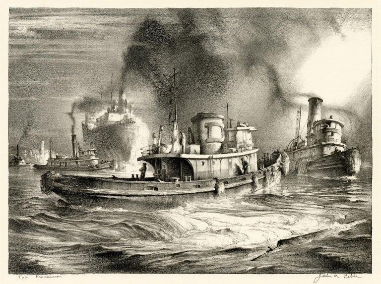John A. Noble Figurative Print - Tug Procession, Four Generations of Tugs off Staten Island