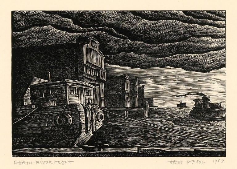 John DePol Figurative Print - North River Front (Hudson River)