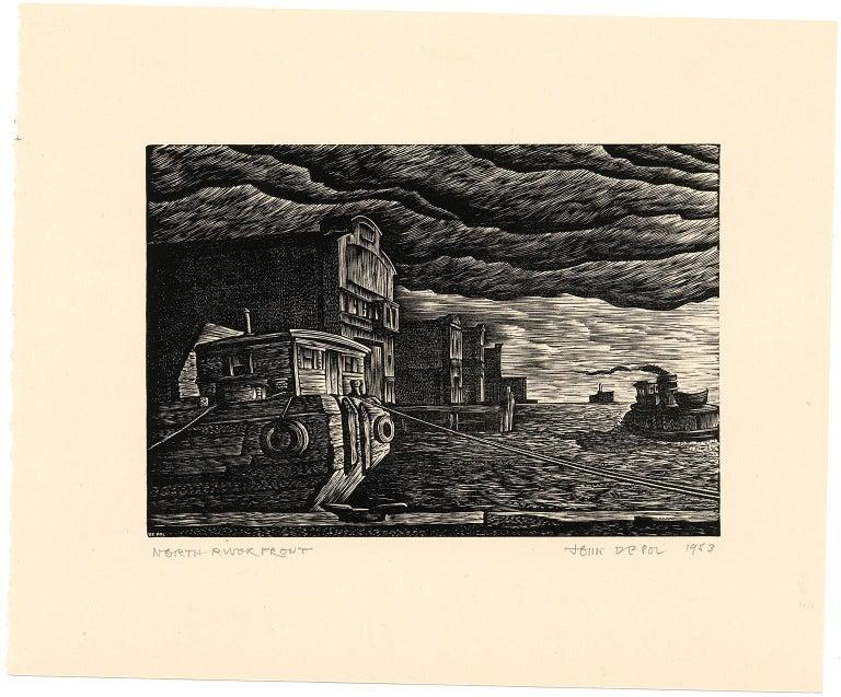 North River Front (Hudson River) - Print by John DePol
