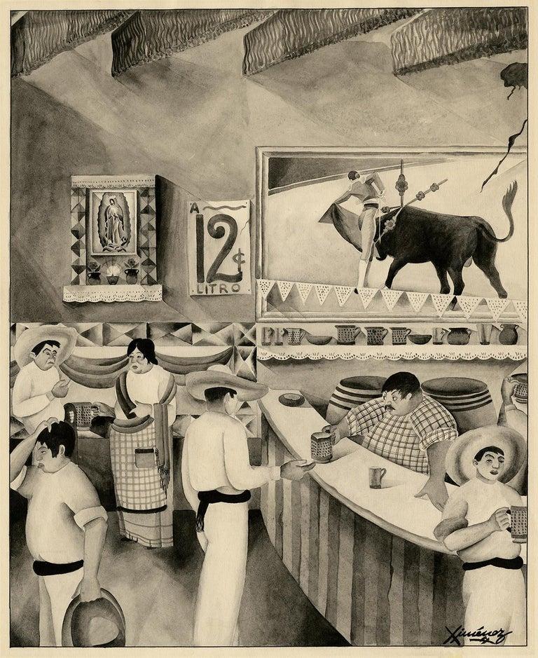José Baqué Ximénez Figurative Painting - Mexican Bar Scene —School of Diego Rivera