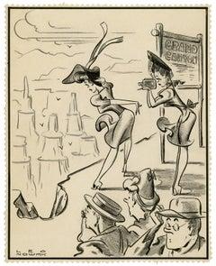 Grand Canyon —vintage drawing, original 'Superman' artist