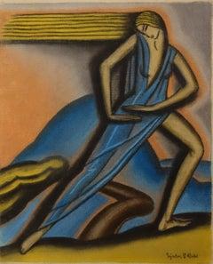 """""""Dancer """"   Pastel   cm 25 x 33  1910ca"""