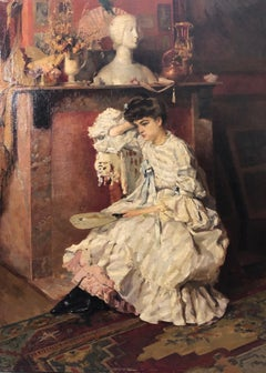 """ Dame de qualitè assise au salon ""   Oil  cm. 60 x 80 1898ca"