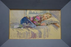 """Sleeping girl"" Oil 1988 cm. 48 x 28"
