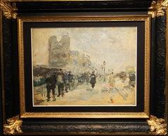 Paris ,Along the Seine, Notre Dame Paris    Oil    1926 cm. 34 x 26