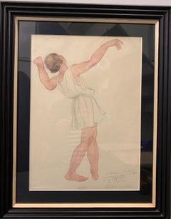"""Dancer"" Dance, 1943, Isadora Duncan, Ballet, White, Rose cm. 28 x 38"