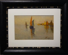 """Sailboats, Venice Lagoon"" Sea,Italy 19th cm. 20 x 30 1890"