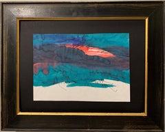 """Sunset a Ménerbes"" Landscapes, Sunset, Green, Rose, Watercolor cm.  21 x 29"