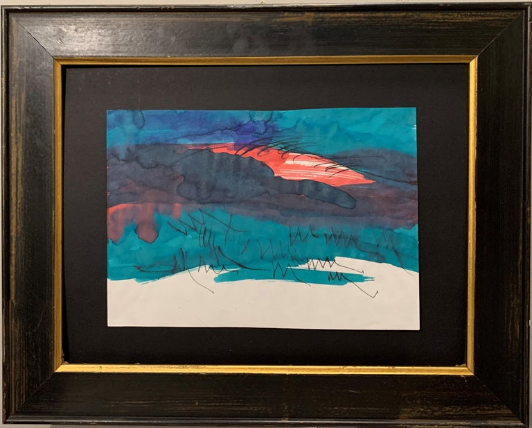 "Dora Maar Abstract Drawing - ""Sunset a Ménerbes"" Landscapes, Sunset, Green, Rose, Watercolor cm.  21 x 29"