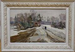 """""""Winter"""" White,Snow,Russia,20th Oil  cm. 38 x 61  1978"""