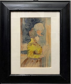 """Elegant woman"" Watercolor, 19st,Yellow,Blue,period dress,cm. 15 x 13"