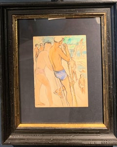 """The swimming teacher""  watercolor  cm. 14 x 19   1930 Paris"