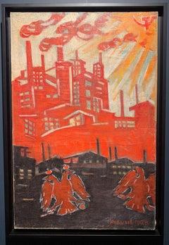 """Growth!"" Oil study Soviet poster 1929 ,Red, Factories, Propaganda, Communist"