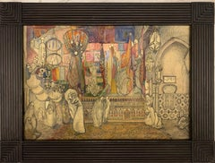 """Harem"" Arabic, Women, Harem, 1920, middle east Watercolor cm. 65 x 46"