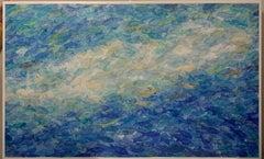 """Blue Fish"" Mixed technique, cm.130 x  80  fish, underwater, green, water, sea"