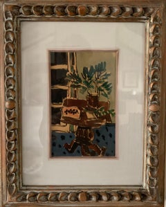 """interior with plant"" watercolor 1934 cm. 13 x 21"
