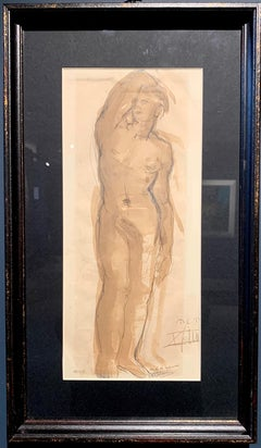 """Male Nude"" Sepia, watercolor, 1943 cm. 15 x 36"