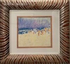"""Beach"" Pastel cm. 23 x 20 1973 Summer,Beach,bathers"