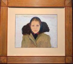 """""""Sashenka"""" Oil cm. 40 x 50 1981 Woman, Russia, snow"""