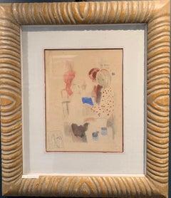 """""""Children"""" Little girl, child, red, blue, reading cm. 31 x 24 1980"""