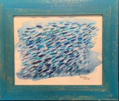 """Cloud of blue fish"" Blue,Fish,sea,Mediterranean cm. 30 x 25 2019"