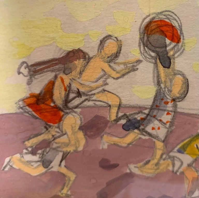 Children, Playing,Green, Blue,Russian art, 1970,  Marina Evgenevna USPENSKAYA (Moscow, 1925 – 2007)  Marina Evgenevna Uspenskaya was born in Moscow. She graduated from the 1905 Art College, where she studied theatre and decorative arts under