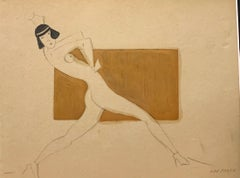"""""""Dancer"""" 1930 , dance, cm. 26 x 21 watercolor and pencil framed cm. 40 x 35"""