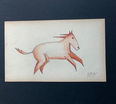 """Futurist horse"" Pastel and China cm.21 x 13 Framed cm. 40 x 31  1925,Curiositie"