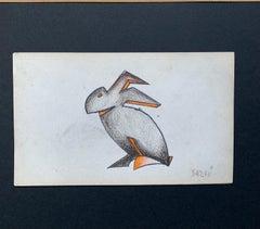 """Futurist rabbit "" Pastel  cm.21 x 13 Framed cm. 40 x 31  1925  Curiosities"