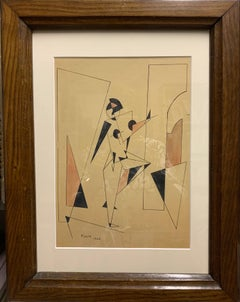 """Futurist dancer"" Futurist,Dance,Black,pink, Ink and watercolor,1926,cm. 30 x 22"