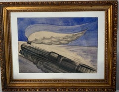"""study for the """"express train""""  , watercolor cm 32x24 1937 , train, blue"""