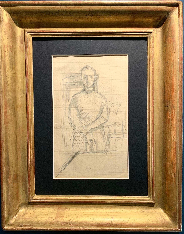"""Study for the work """"Léna aux bras croisés"""" pencil cm. 39 x 19 1954"""