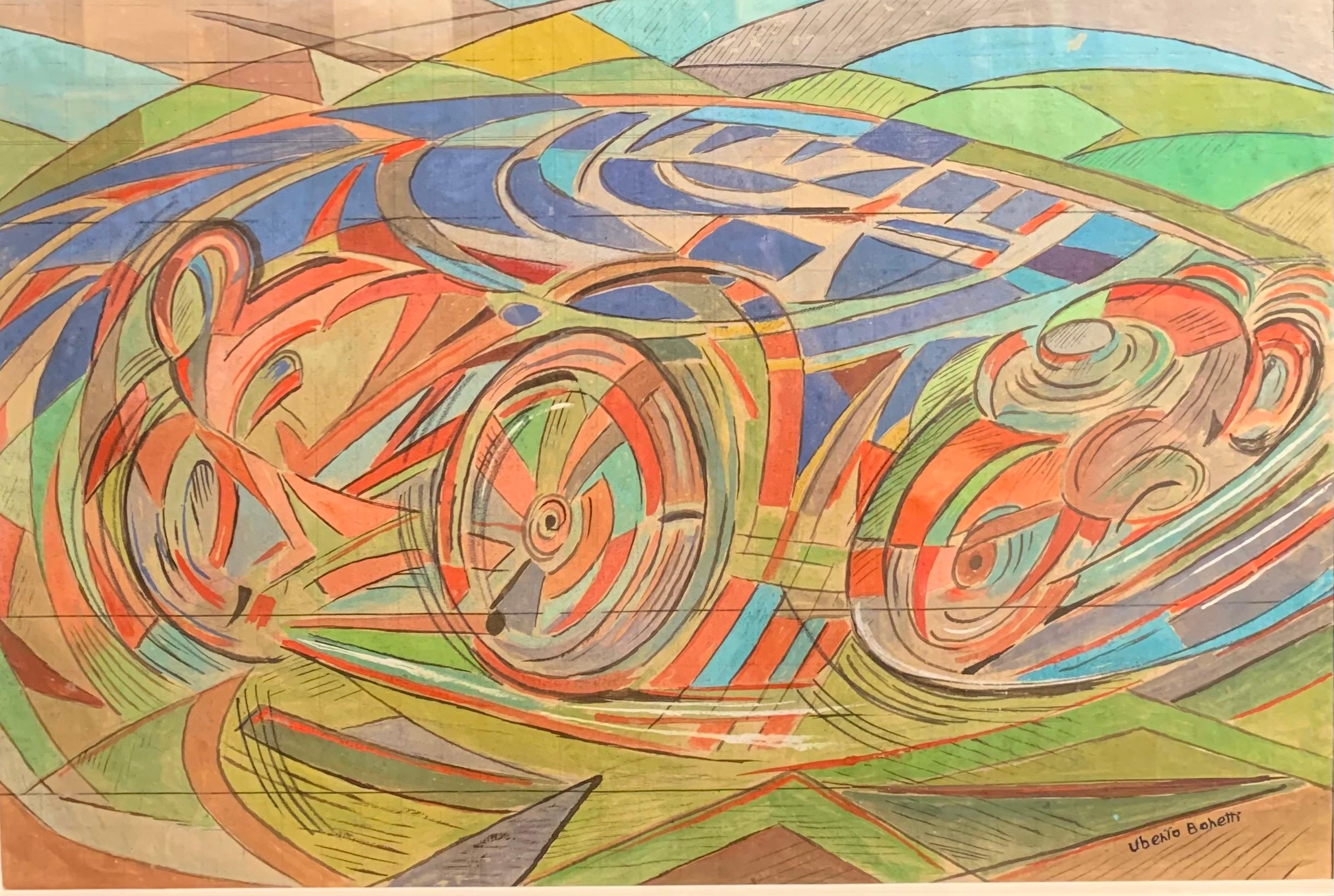 """""""Speed """"Motorcycles on the circuit watercolor 1930 cm. 33 x 22"""