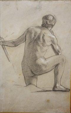 """Male nude""  Pencil cm. 18 x 27  1893 ca"