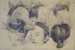 """Battle in my mind  I ""   black pastel pencil   cm. 98,5 x 67"