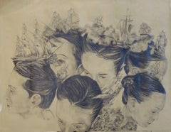 """Battle in my mind  II ""  Faces of women and ships , pencil  cm. 98 x 76"