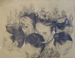 """Battle in my mind  II ""   black pastel pencil   cm. 98 x 76"