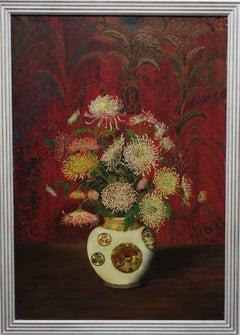"""Chrysanthemums in Chinese vase""    Oil   1927"