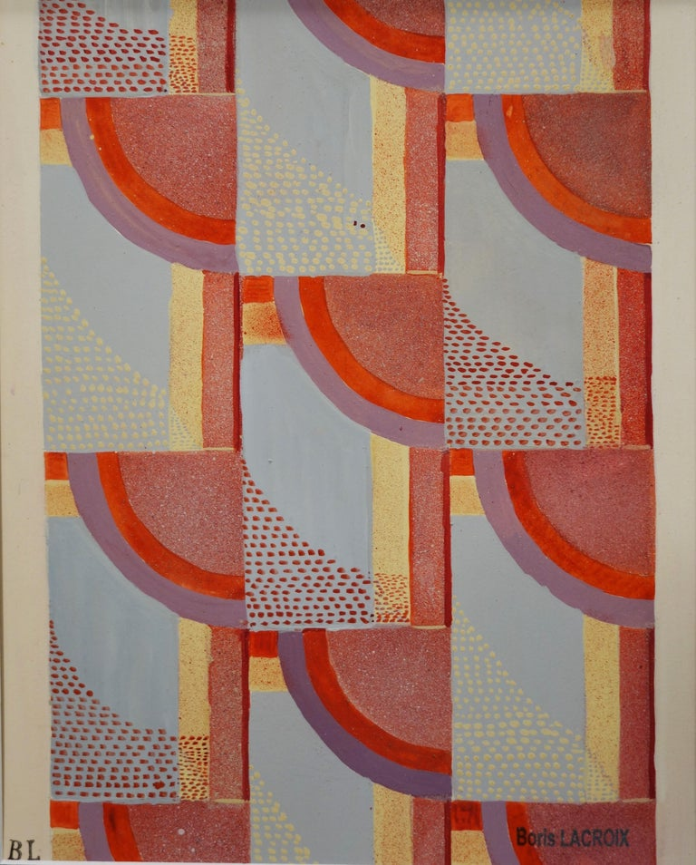Abstract composition -Studio for upholstery,fabric ,1925 ,Deco,Red  cm. 28 x 35 - Painting by Boris Lacroix