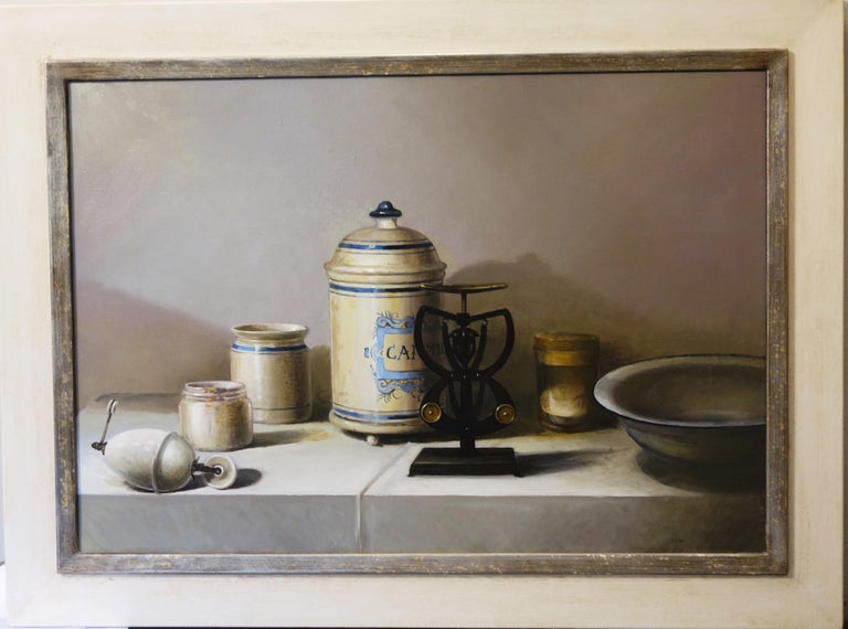 "Gigi Doni  Still-Life Painting - ""objects"" Realism , White ,Ancient ceramics of the pharmacist Oil cm. 65 x 45"