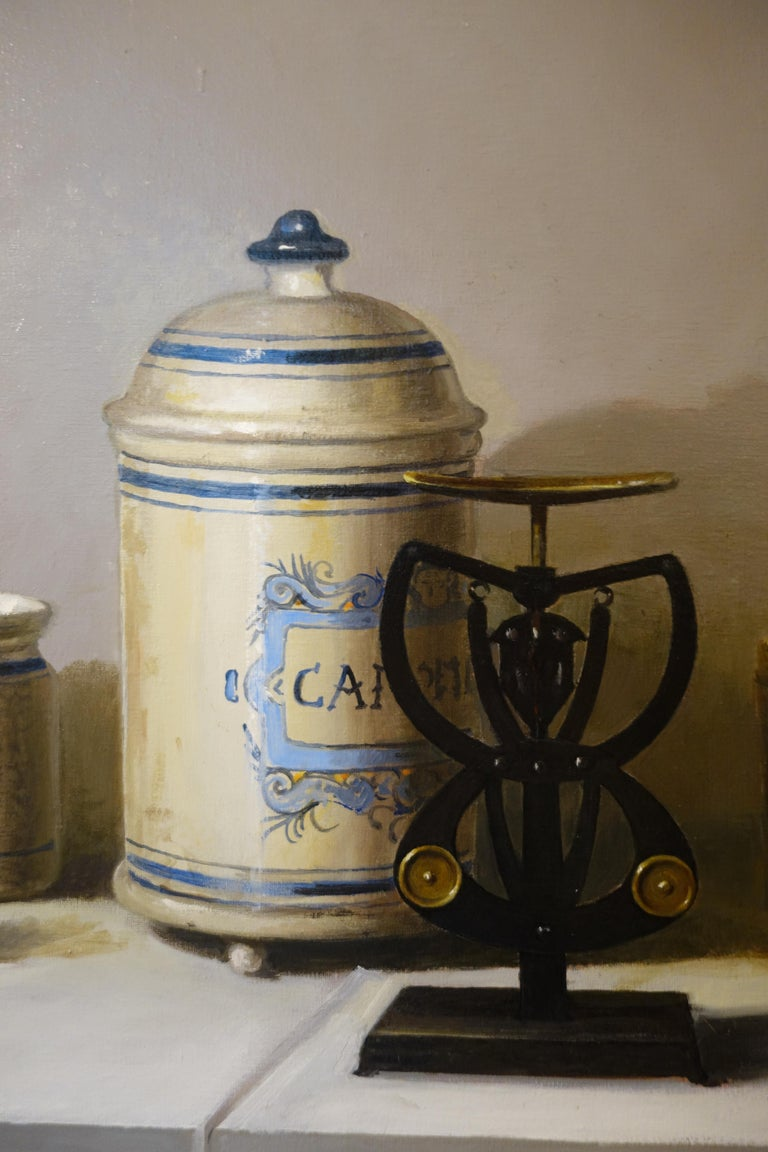 Still life, Ceramics, Pharmacist, hyperrealism Gigi Doni Italian painter