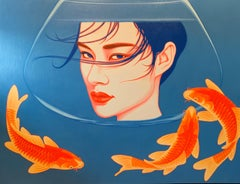 China Girl , Fish,Blue ,Red,Orange, Oil cm. 130 x 100   21th