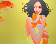 China Girl , Fish,Yellow ,Red,Orange, Oil cm. 130 x 100   21th